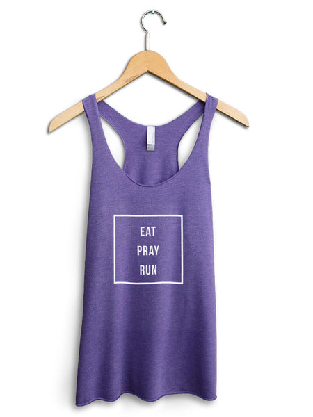 Eat Pray Run Women's Purple Tank Top