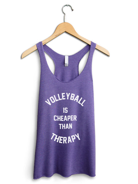 Volleyball Is Cheaper Than Therapy Women's Purple Tank Top