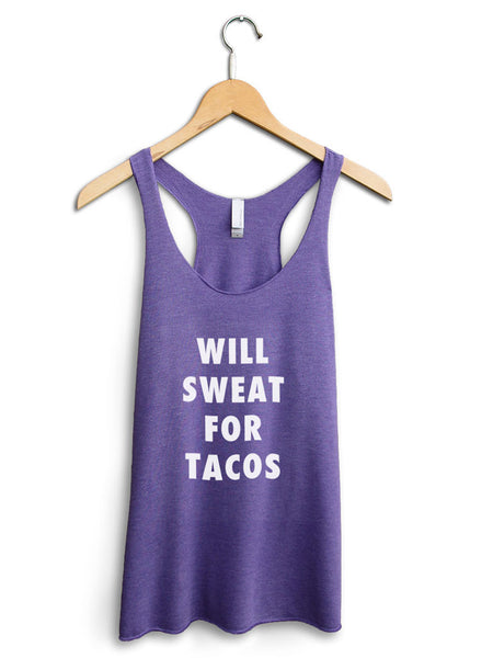 Will Sweat For Tacos Women's Purple Tank Top