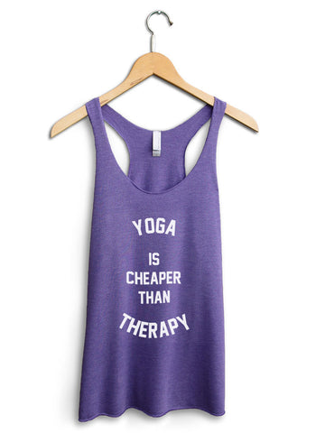 Yoga Is Cheaper Than Therapy Women's Purple Tank Top