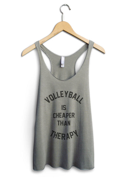 Volleyball Is Cheaper Than Therapy Women's Venetian Gray Tank Top