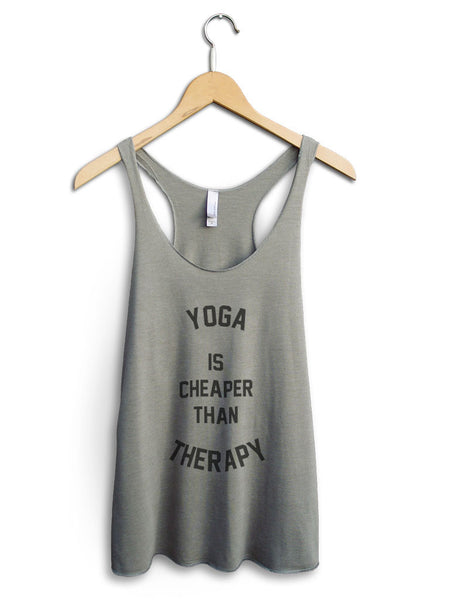 Yoga Is Cheaper Than Therapy Women's Venetian Gray Tank Top