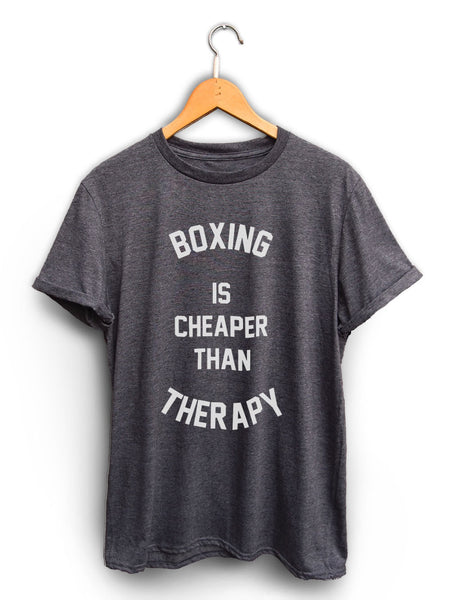 Boxing Is Cheaper Than Therapy Unisex Dark Heather Gray Shirt