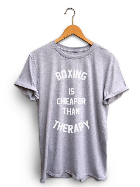 Boxing Is Cheaper Than Therapy Unisex Light Heather Gray Shirt