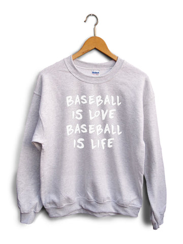Baseball Is Love Heather Gray Unisex Sweater