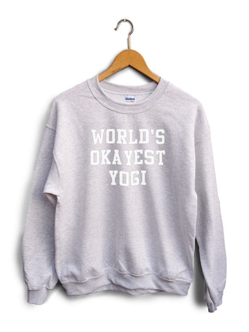 Worlds Okayest Yogi Heather Gray Unisex Sweater