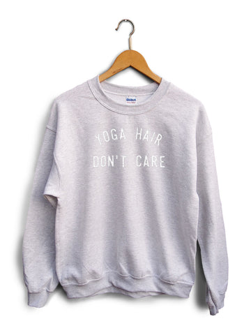 Yoga Hair Dont Care Heather Gray Unisex Sweater