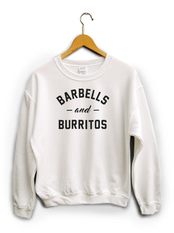 Barbells And Burritos White Unisex Sweater