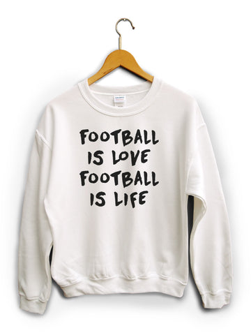 Football Is Love White Unisex Sweater