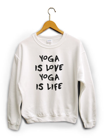 Yoga Is Love White Unisex Sweater