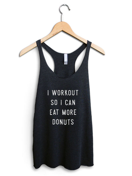 Eat More Donuts Women's Black Tank Top