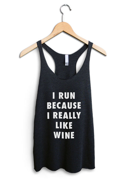 I Run Because Wine Women's Black Tank Top