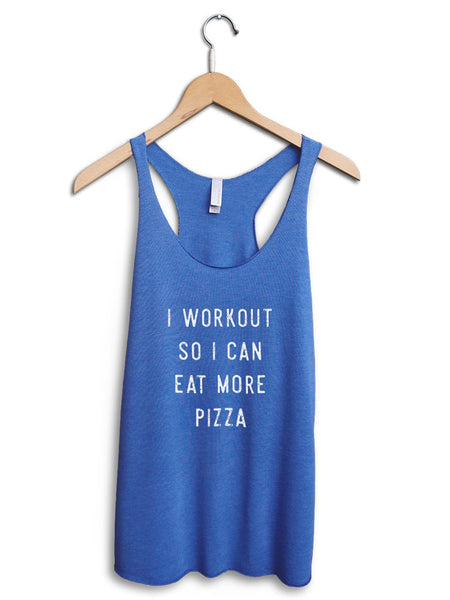 Eat More Pizza Women's Blue Tank Top
