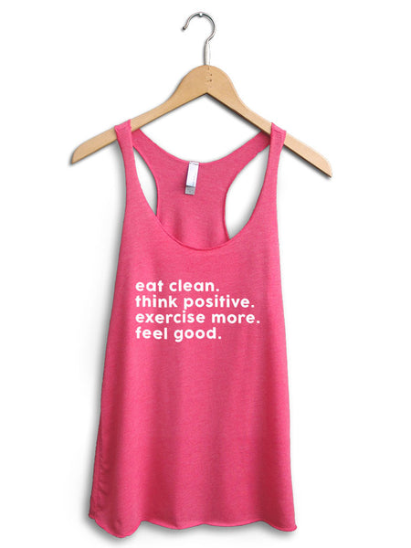 Eat Clean Think Positive Women's Pink Tank Top
