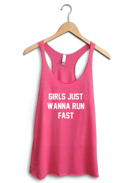 Girls Just Wanna Run Fast Women's Pink Tank Top
