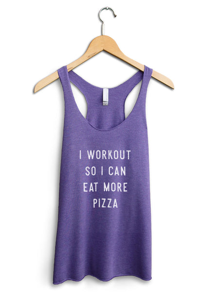Eat More Pizza Women's Purple Tank Top