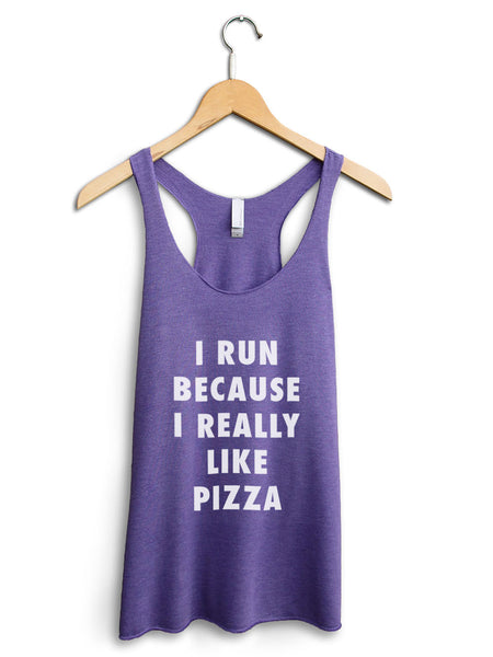 I Run Because Pizza Women's Purple Tank Top