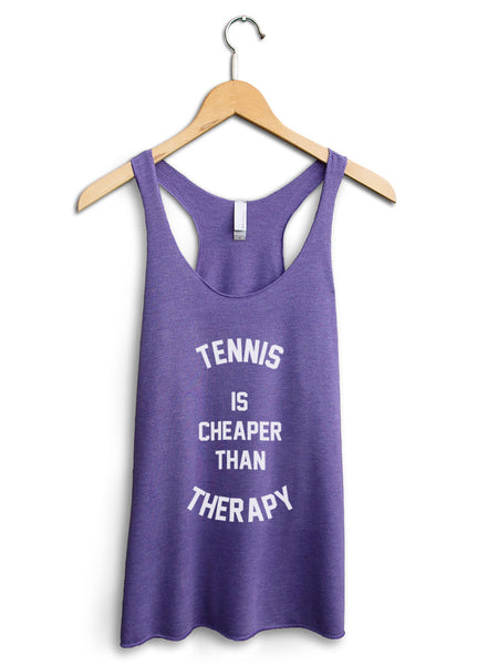 Tennis Is Cheaper Than Therapy Women's Purple Tank Top