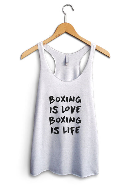 Boxing Is Love Boxing Is Life Women's White Tank Top