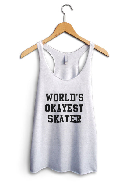 Worlds Okayest Skater Women's White Tank Top
