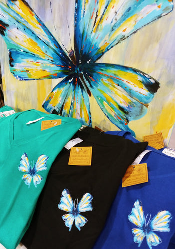 Butterfly 3/4 Sleeve V-neck T-Shirt