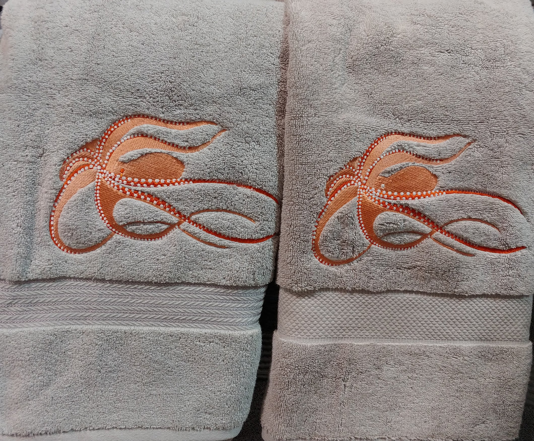 Octopus Embroidered Gray Bath Towel