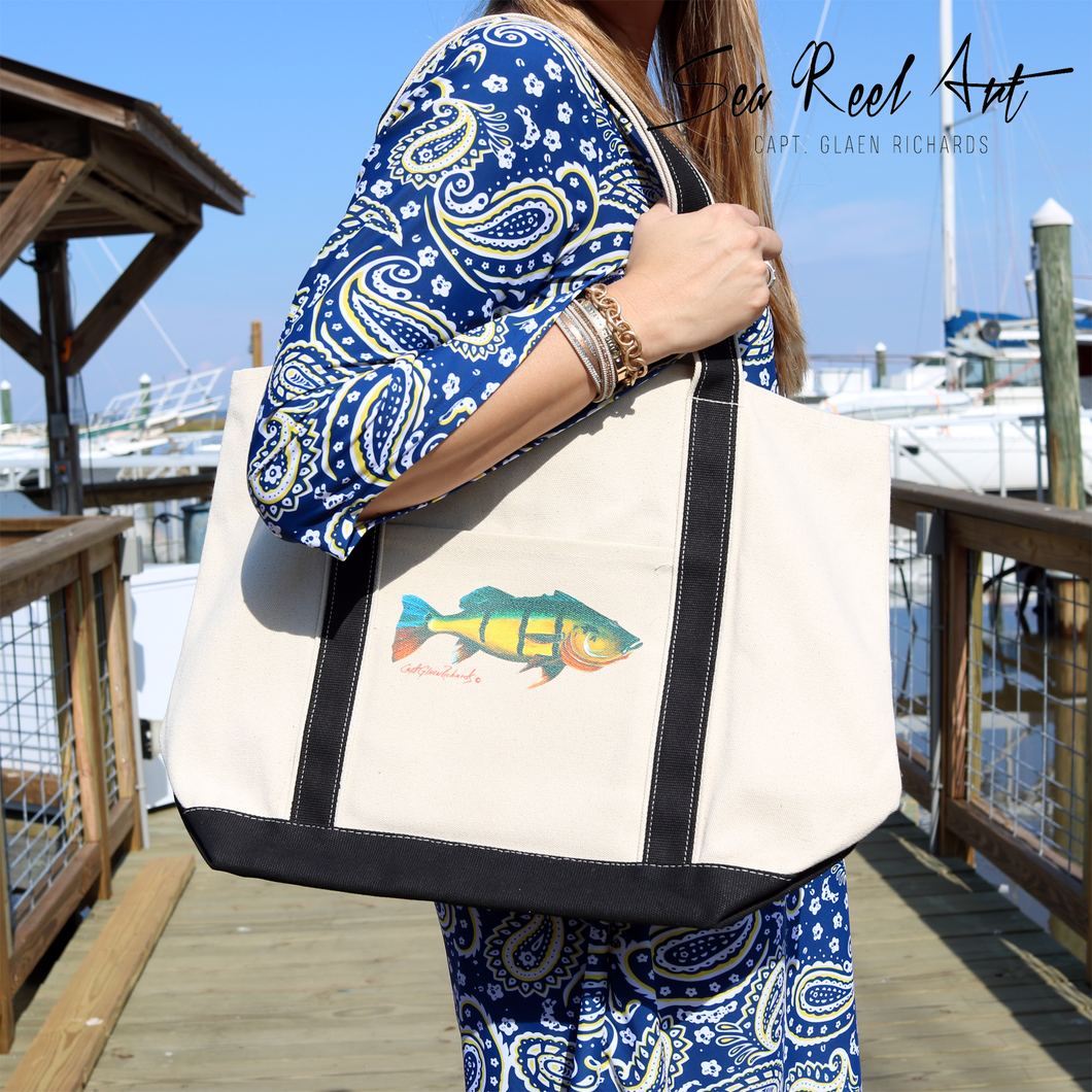 Peacock Bass Canvas Tote Bag