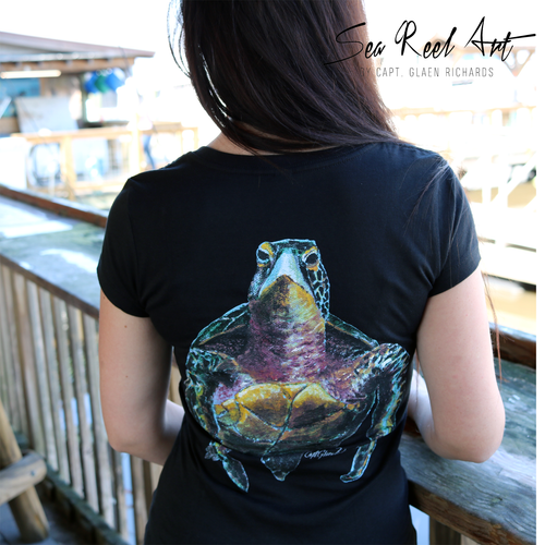 Turtle Short Sleeve Ladies V-Neck T-shirt