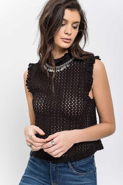 see right through you mock neck knit top