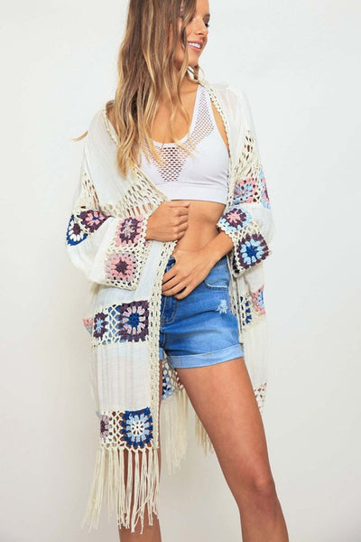 multicolored crochet cardigan with fringe