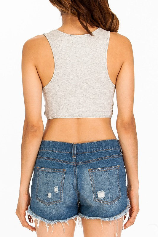 knit racerback tank with knot cut out front