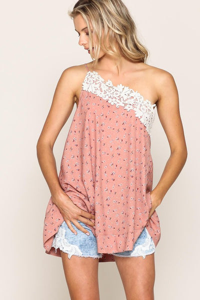 field of daisies asymmetrical floral top with embroidered trim