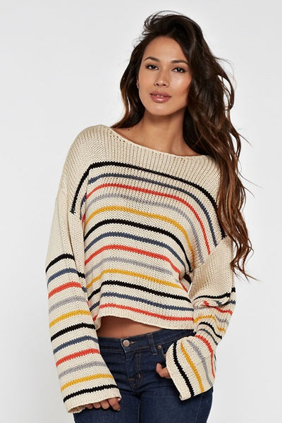 cropped stripe fall in love sweater