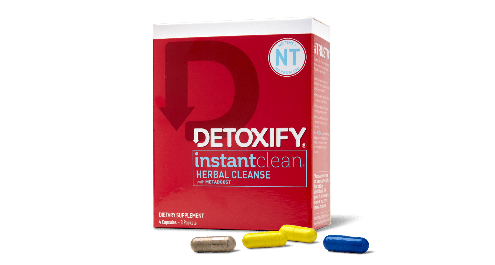 Detoxify Instant Clean harnesses the cleansing power of our one-day herbal cleansing drinks in four, sugar-free capsules.