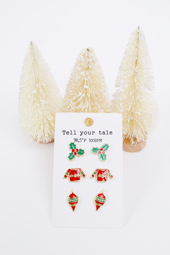 Holly Jolly Christmas Earring Set - Everest & Co.