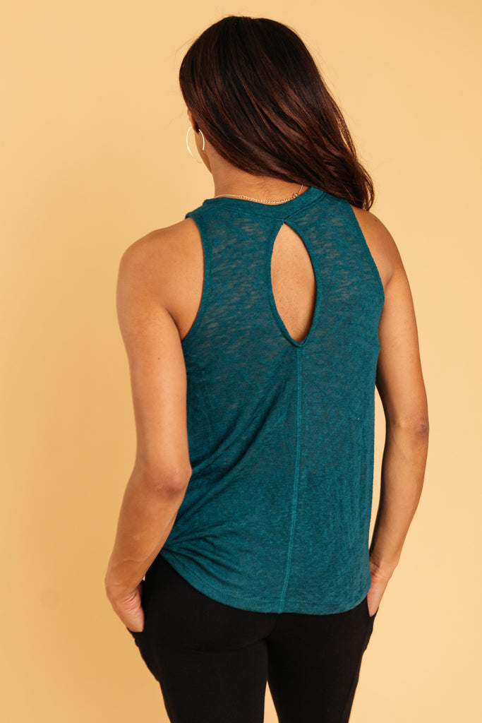 Knotted Hem Tank in Sea Green - Everest & Co.
