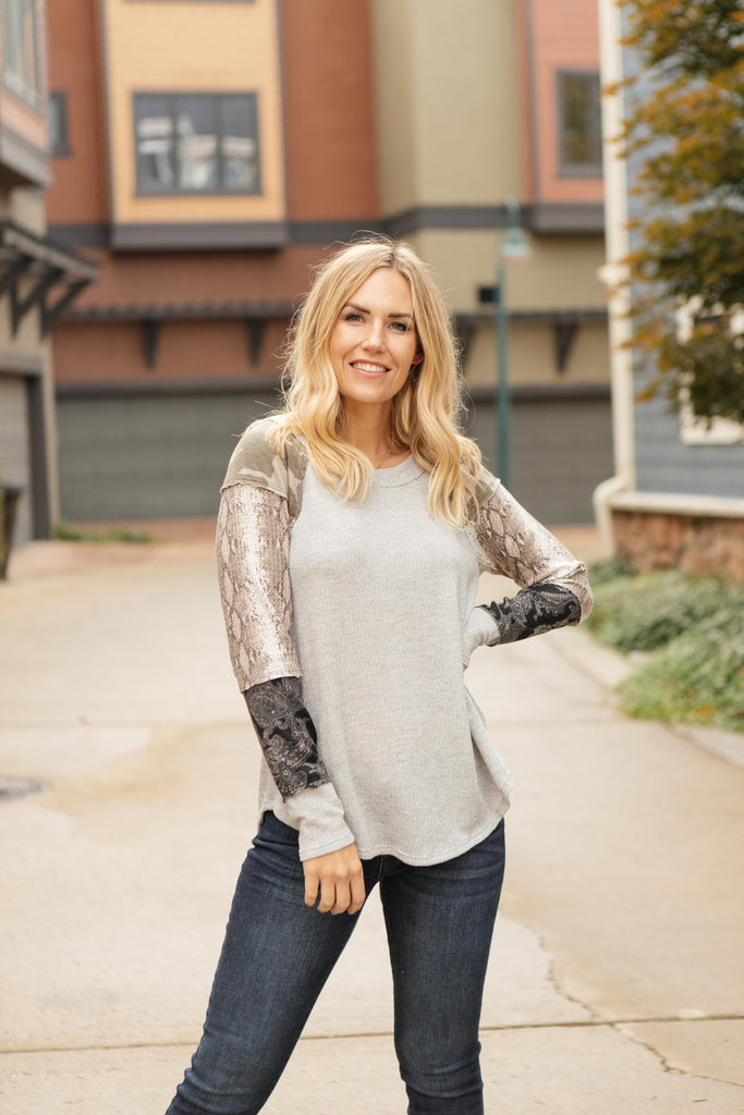 All About The Details Top in Gray - Everest & Co.