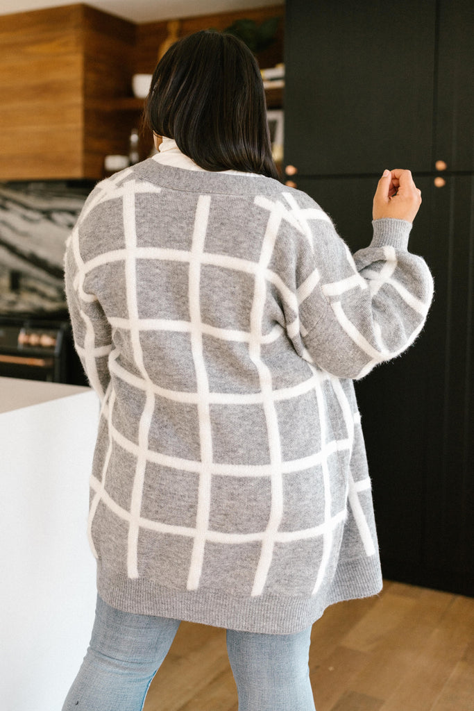 Bold Lines Cardigan in Heather Grey - Everest & Co.