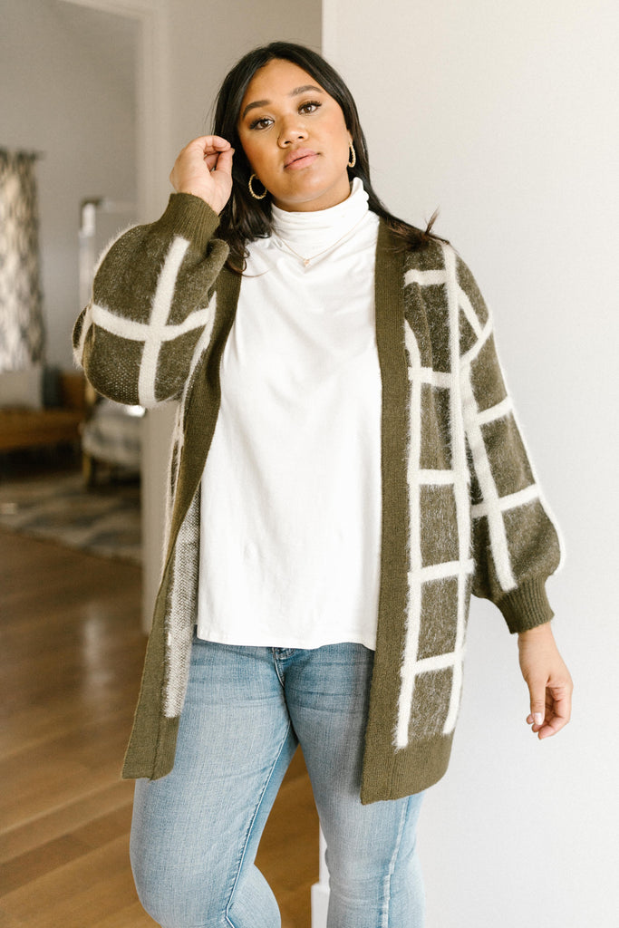 Bold Lines Cardigan in Olive - Everest & Co.