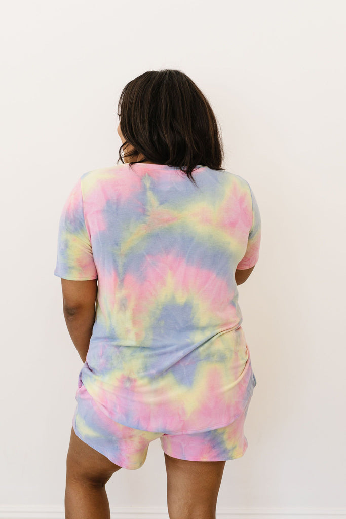 Brushed Knit Tie Dye Lounge Top In Blue - Everest & Co.
