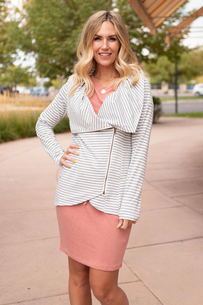 Business Casual Striped Jacket in Gray - Everest & Co.