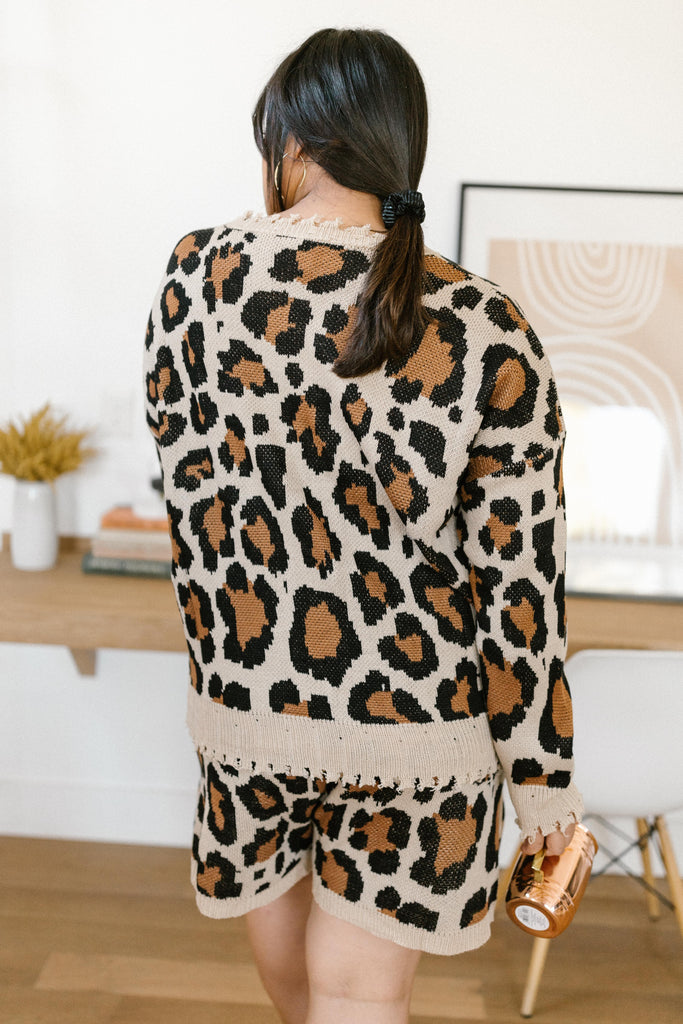 Chasing Sleep Lounge Set Top in Leopard - Everest & Co.