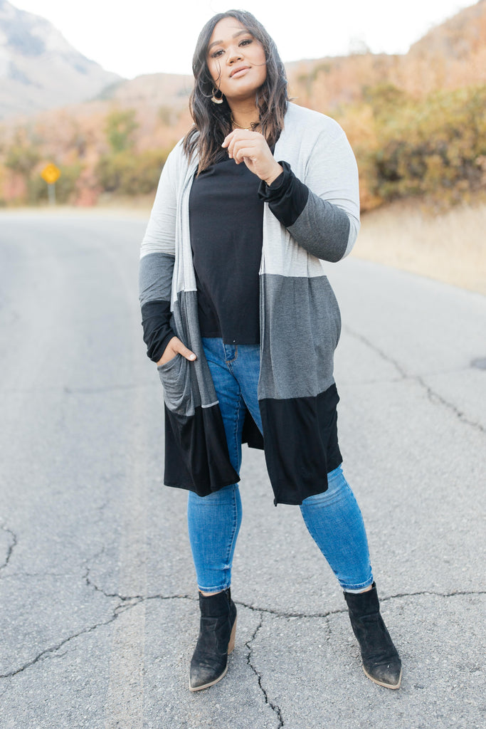 Clarissa Striped Cardigan in Black - Everest & Co.