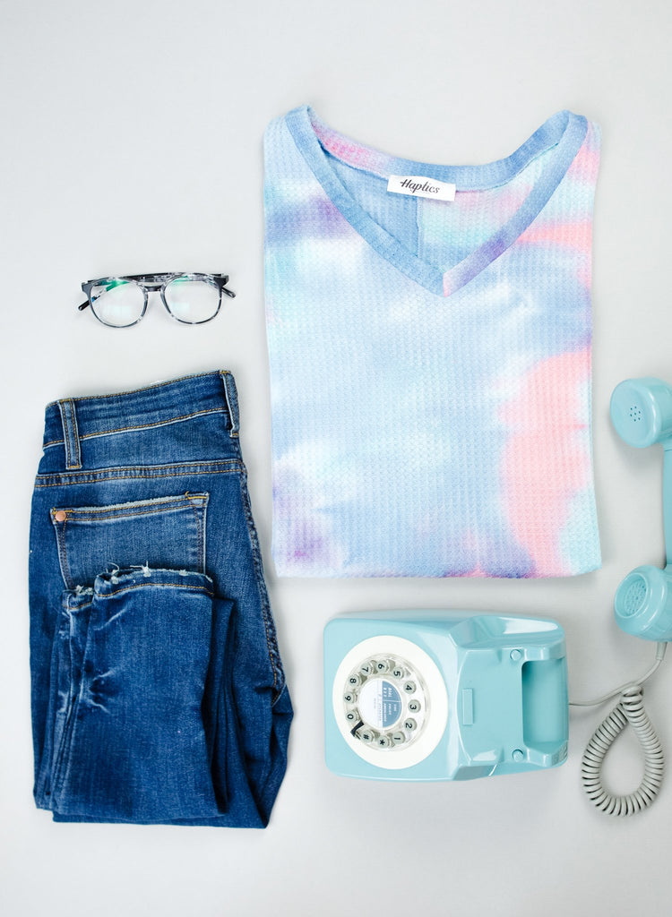Clouds Of Blue & Pink Tie Dye Top - Everest & Co.