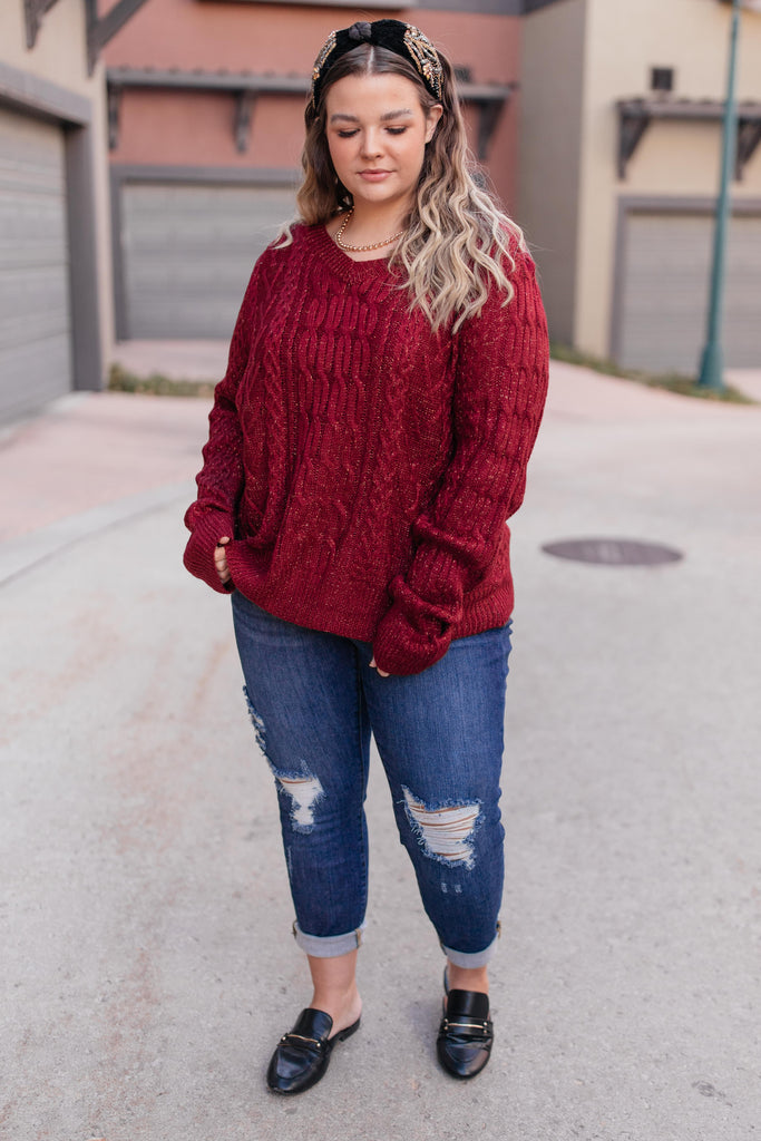 Cozy Cropped Sweater in Cranberry - Everest & Co.