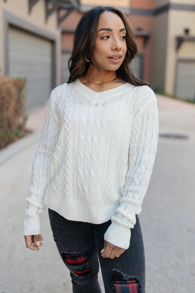 Cozy Cropped Sweater in White - Everest & Co.