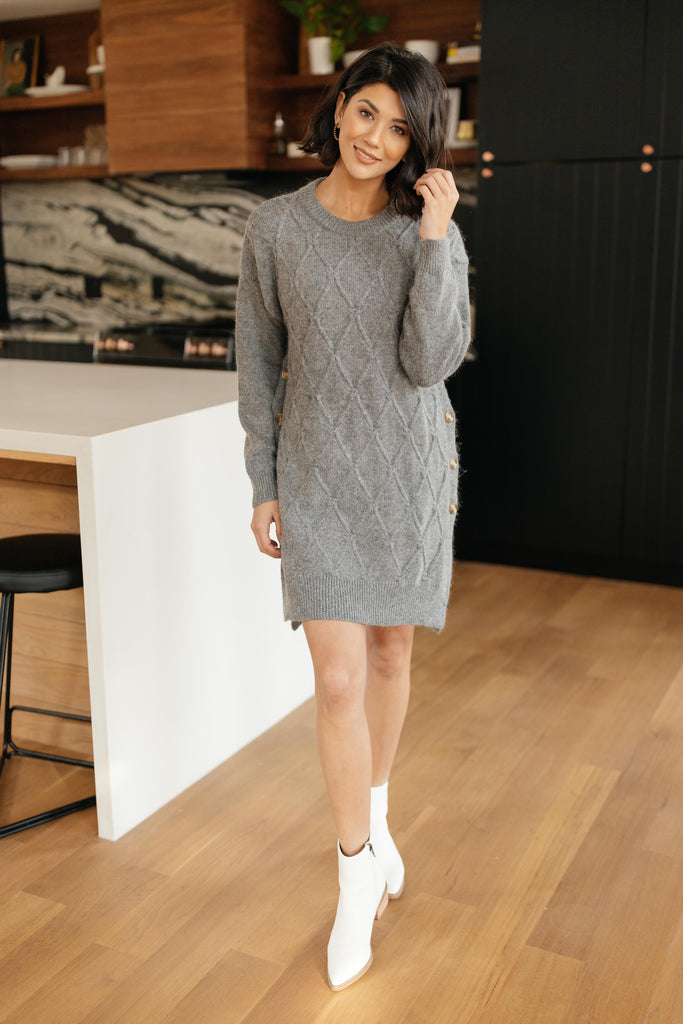 Diamond Details Sweater Dress in Grey - Everest & Co.