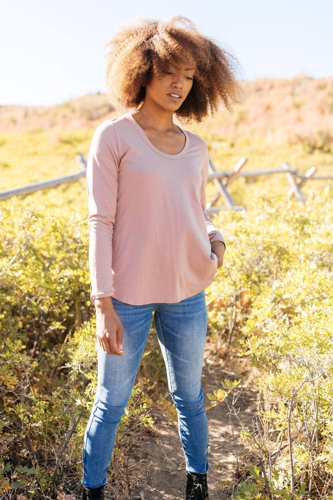 Every Girl's Favorite Basic Top in Mauve - Everest & Co.