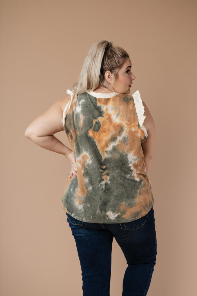 Falling Leaves Textured Tie Dye Top - Everest & Co.