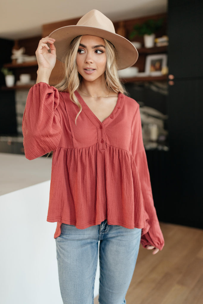 Forever Blooming Babydoll Top in Rust - Everest & Co.